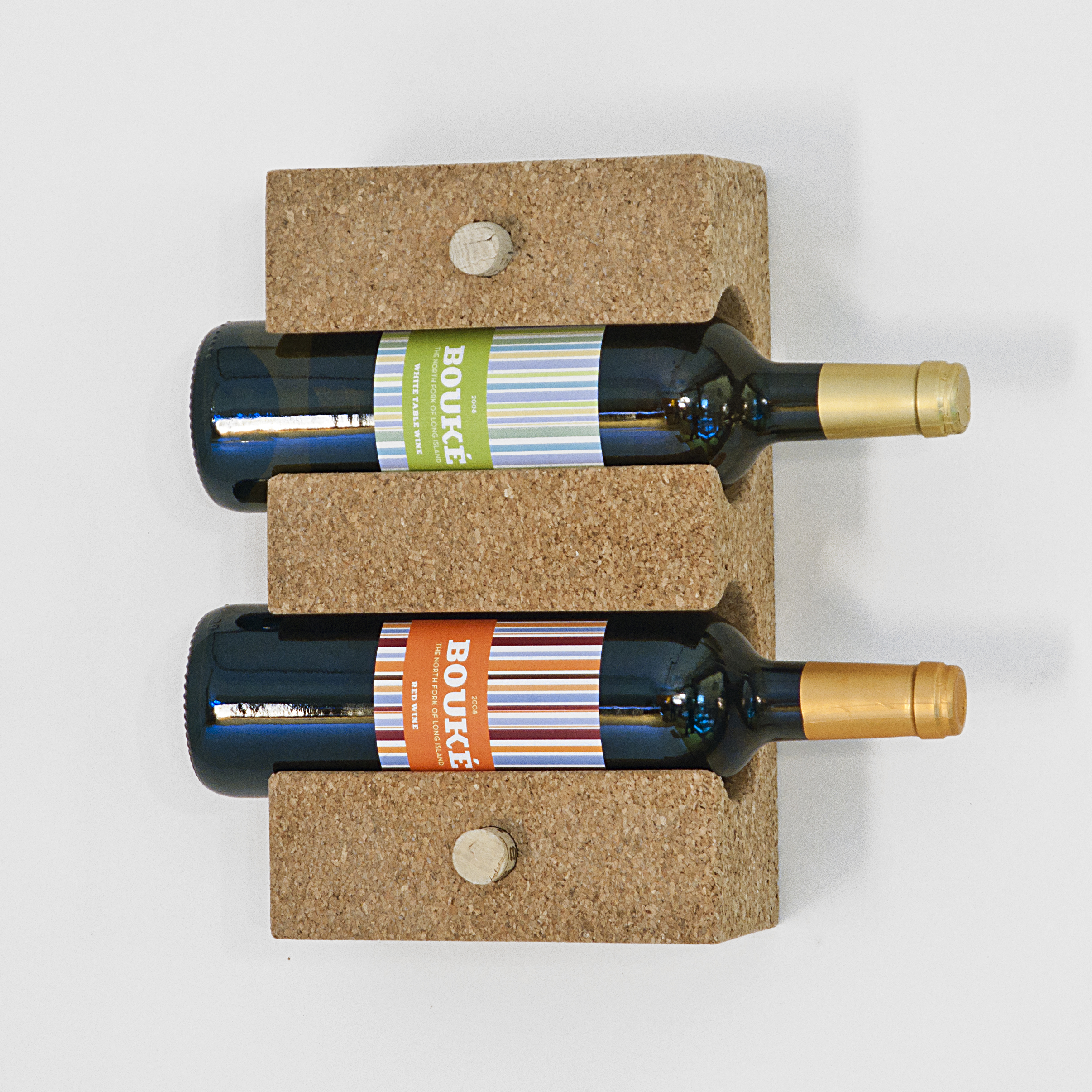 2-Bottle Wall-Mounted Cork Wine Rack